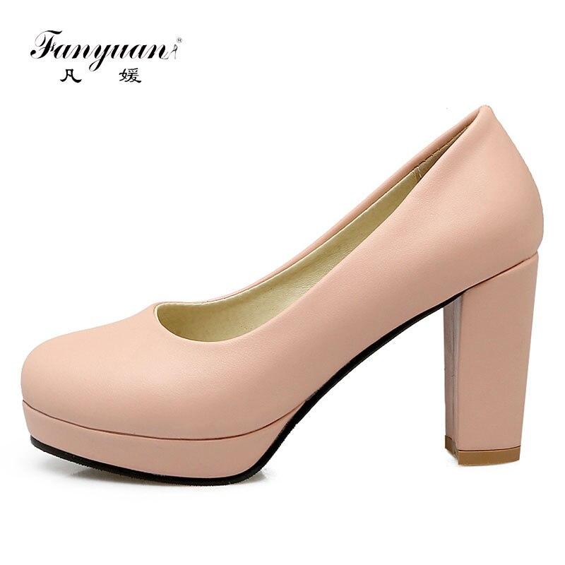 Fanyuan Women Platform Super High Heels Round Toe Solid Color Block Heels  Ladies Pumps Shoes Sexy Party Prom Wedding Shoes Woman 67d4e5af159c