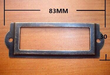 50 pcs Lock 83*30MM Bronze Decorative Frame Label Box Business Card Holder Antique Tin Holders metal label sign holder