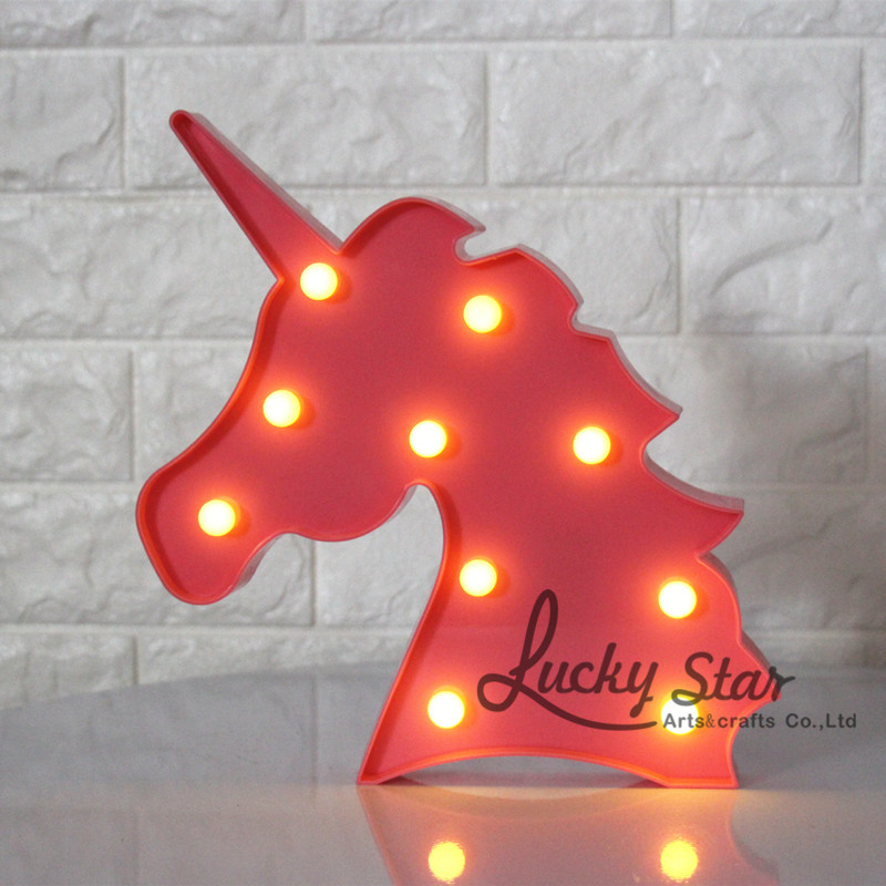 12inch LED Plastic Unicorn Shape Marquee Sign Indoor Room Deration Night Light Luminarias Led Abajur Wireless Wall Lamp For Gift in LED Night Lights from Lights Lighting