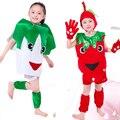 Crianças halloween party boy girl fruit vegetal sherry pêra repolho morango chapéu traje roupas luvas perna cobre