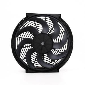 Image 2 - Universal 14 Inch  Car Water Oil Cooler DC12V 90W Pull & Push bend Black Blade Electric Cooling Radiator Fan For Car Kart Buggy