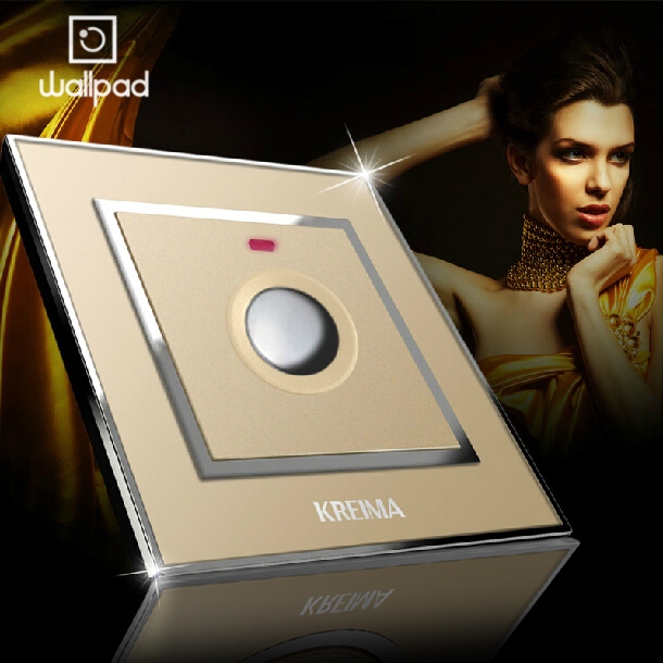 Touch Time Delay Switch,Wallpad EU UK Standard Golden Acrylic Glass Panel Wall Light Timmer Switch, 110-250V, Free Shipping