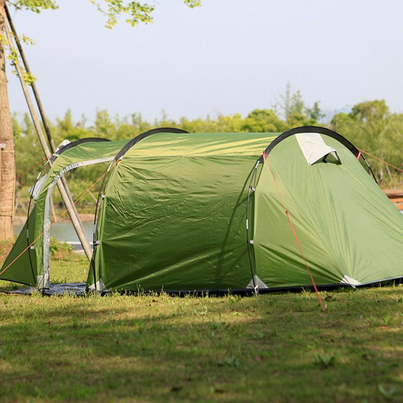 Ultralarge One Hall One Bedroom Double Layer Anti-uv Tunnel 3 Person Camping Tents new arrival 3 4persons one bedroom
