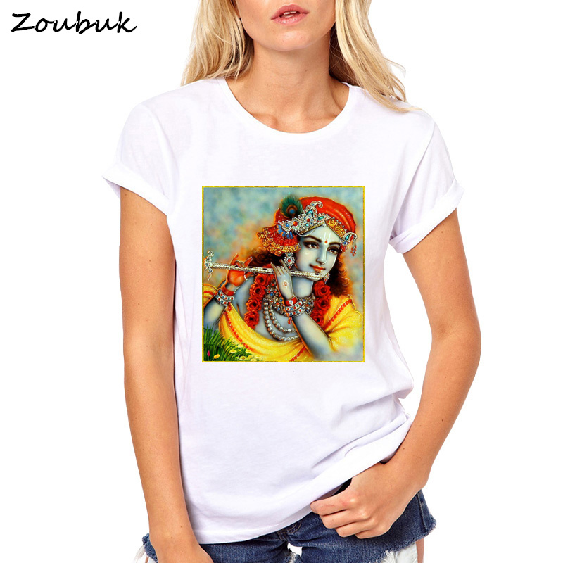 2018 new Summer fashion womens t shirt Lord Shiva Shri Krishna printed T-Shirt Hindu god design generous pretty girls tees