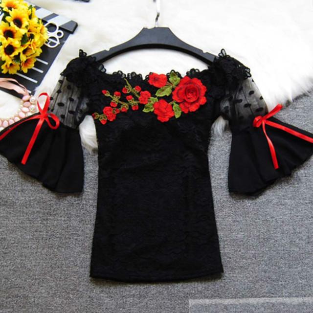 Fashion lace blouse women shirt flare sleeve sexy hollow lace women blouse shirt slash neck embroidery lace tops blusas 6811 30