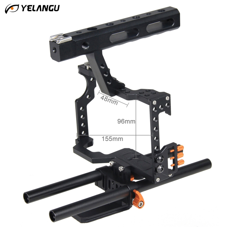 YELANGU For Panasonic Lumix DMC-GH4 Sony A7 DSLR Camera Video Cage Kit Stabilizer +Top Handle Grip for Sony A7 II A7r A7s GH4 puluz pu3010 camera cage handle stabilizer for sony a7 a7s a7r a7r ii a7s ii for panasonic dmc gh4