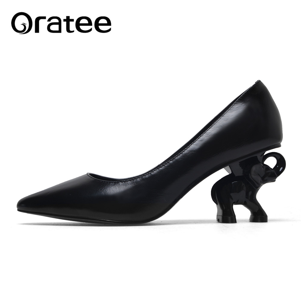 Full Genuine Leather Women Shoes Elephant Heel Women Shoes 6 cm High Heel Office Ladies Shoes