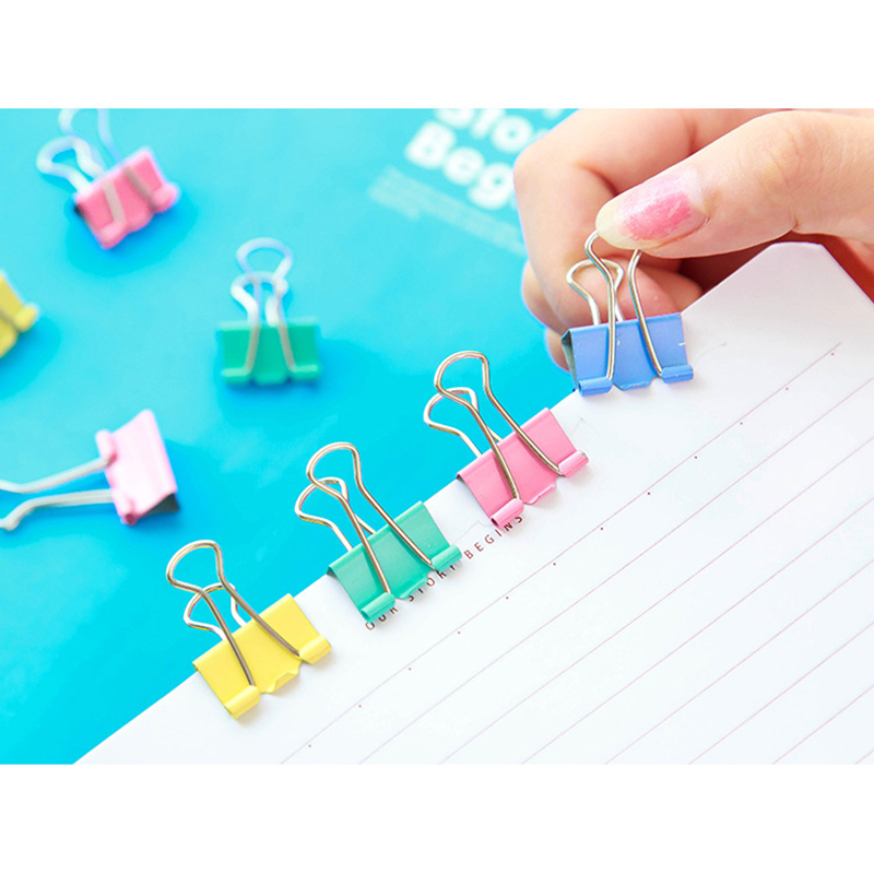 25 PCS/lot Colorful Metal Paper Binder Clips Of High Quality 15mm Office Supplies Office Stationery Binding Supplies