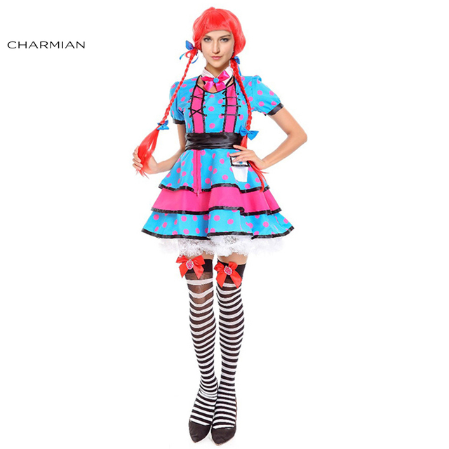 d62818a417 Charmian Lovely Women Rag Doll Halloween Costume Adult Cute Girls Pink Dot  Print Mini Dress Cosplay Carnival Party Fancy Dress