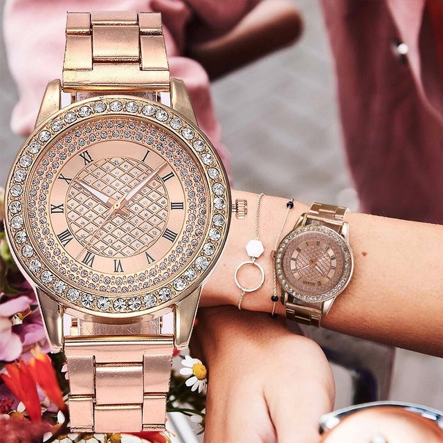 Dropshipping Rose Gold Watch Women Rhinestone Watch Fashion Luxury Women's Stain