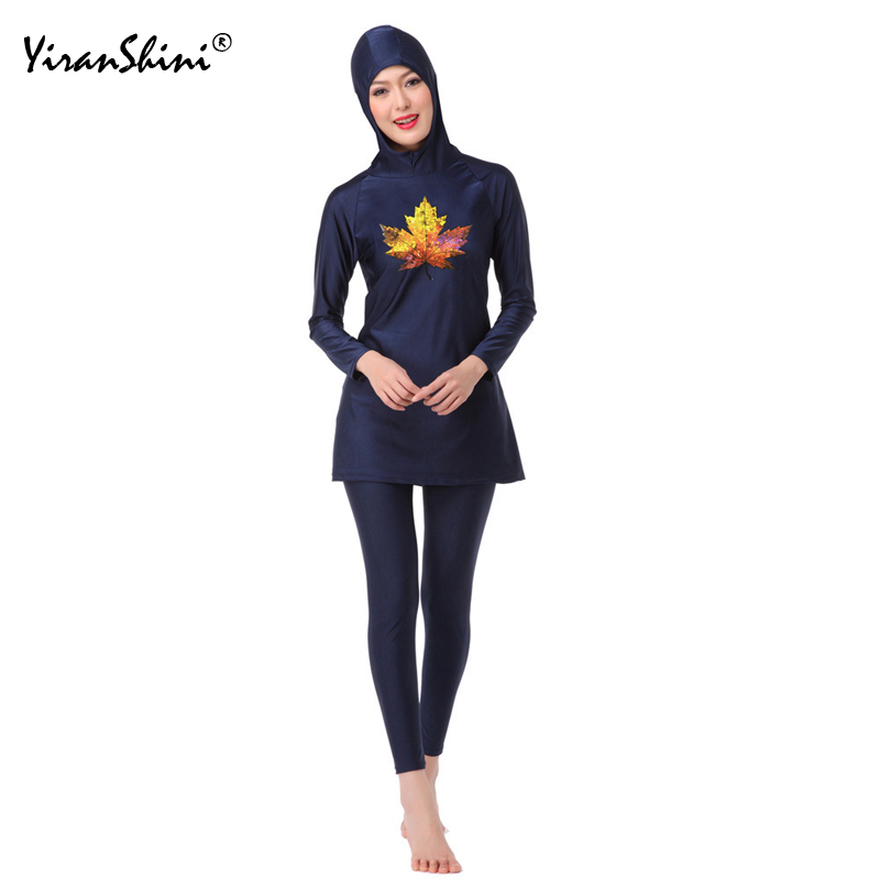 YIRANSHINI Muslim Swimwear Women Modest Print Full Cover Long Sleeve Swimsuit Islamic Hijab Islam Burki Conservative Bath Suit