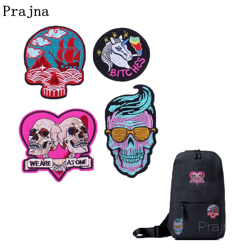 Prajna Punk Biker Patches Skull Patch Heart Badge Unicorn Bitches Embroidered Iron On Patch Sewing Accessories For Bag Clothing