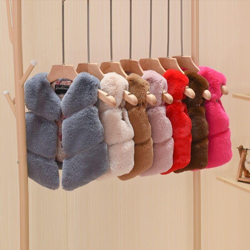1-12Yrs Kids Girls Faux Fur Vest Coats Warm Children Waistcoat Autumn Winter Girl Sleeveless Jacket Baby Girls Fur Coat цена 2017