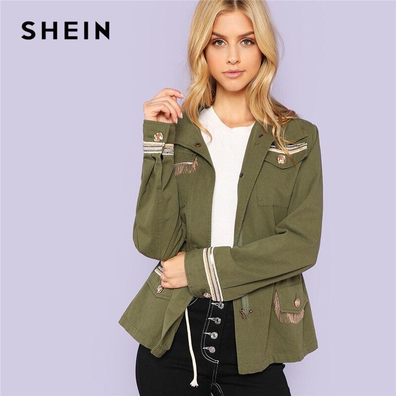 Шеин Армейский зеленый опрятный Highstreet бахромой кнопка карман отделкой куртка 2018 Осенняя мода Кампус Для женщин пальто и верхняя одежда