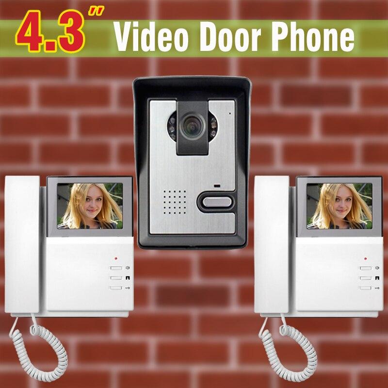 4.3 LCD Video Door Phone Intercom Doorbell System Kit IR Camera Door bell Intercom Doorphone 2 monitors Home Security