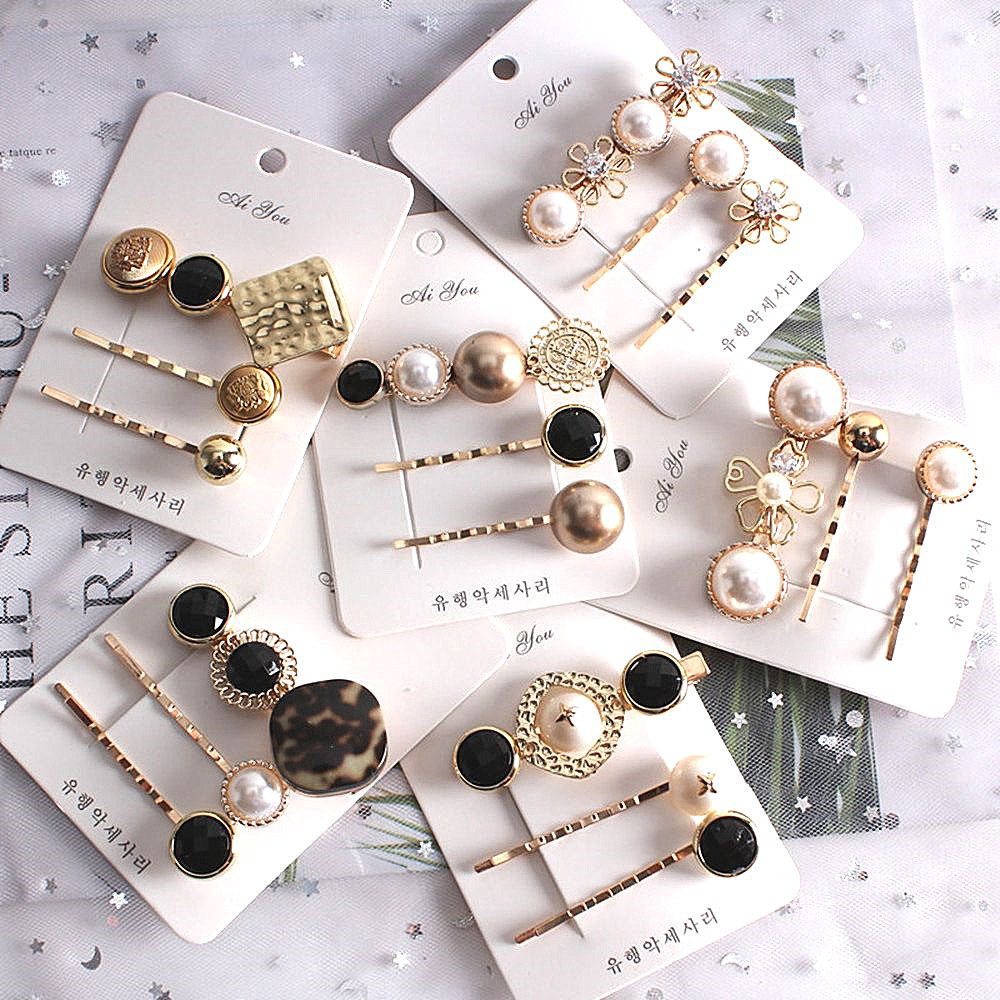 3PCS Hot Korea Chic Alloy Metal Hair Clips Pearls Hairpins Geometric Flower Barrett Women Hair Accessories Gold Color Hairgrip