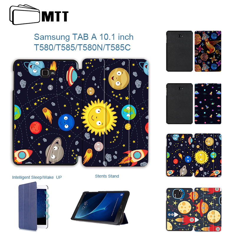MTT For Samsung Galaxy Tab A 10.1'' A6 T580N T585C Cartoon Print Protective Stand Case for Galaxy Tab A 10.1 SM-T580/585 Tablet leopard print pattern protective plastic case w tail for samsung galaxy s4 i9500 black yellow