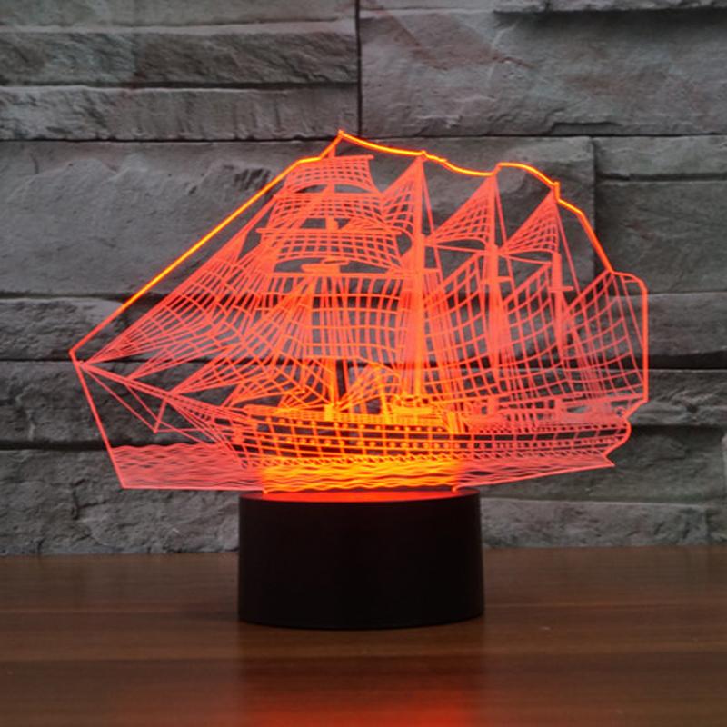 Newest Bedroom Night Desk Light Lamp Versatile 7color illusion Sailboat 3D LED (4)