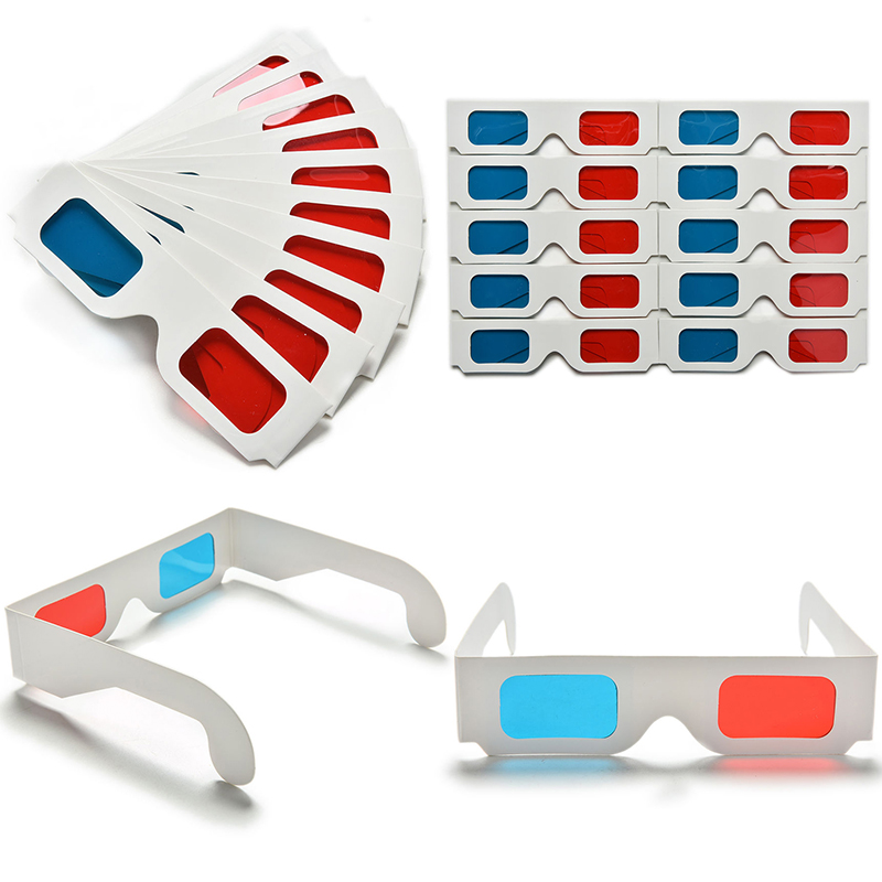 10pcs/lot Universal Paper Anaglyph 3D Glasses Paper 3D Glasses View Anaglyph Red Cyan Red/Blue 3D Glass For Movie EF 3d glasses universal black frame red blue cyan anaglyph 3d glasses 0 2mm for movie game dvd