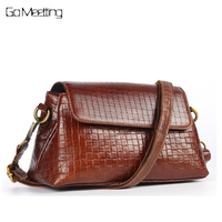 High Quality Vintage Genuine Leather Women Shoulder Bags Famous Brand First Layer Cowhide Embossed Cross Body