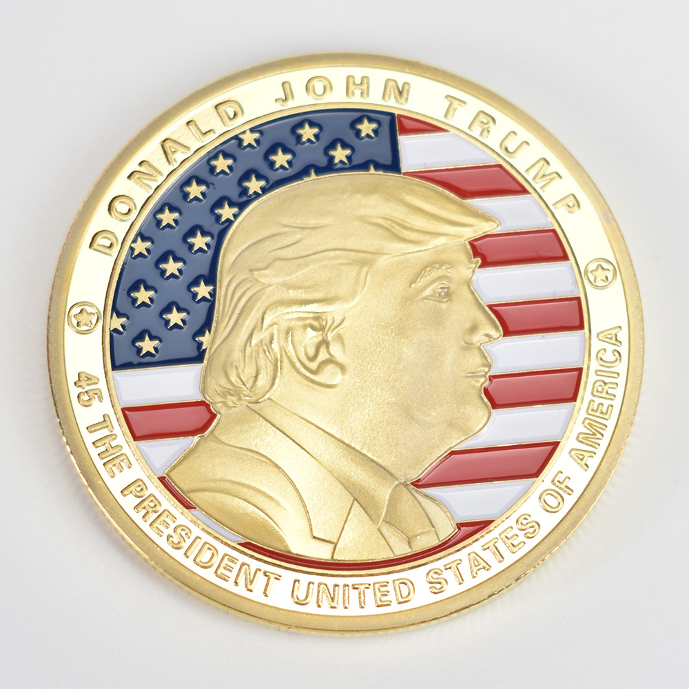 40mm America President Donald Trump Commemorative Coin Gold Plated Colorful Metal coin With plastic case