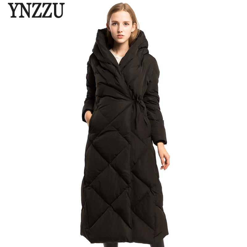 Brand Luxury 2018 Winter Women's Down Jacket Elegant Extra Long 90% White Duck Down Coats Thickening Warm Female Outwears AO621