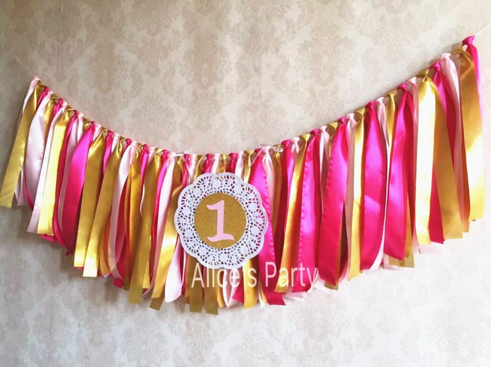 Hot Pink Light Pink Gold Rag Tie banner baby girl highchair banner 1st birthday garland New Party decorations Photo background