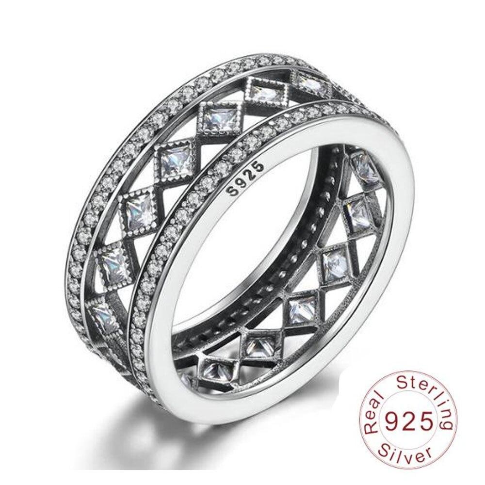 2018 AEM Vente Chaude 925 Sterling Argent Carré Vintage de Fascination Grand Anneau Pour Les Femmes De Luxe De Mode S925 Beaux Bijoux