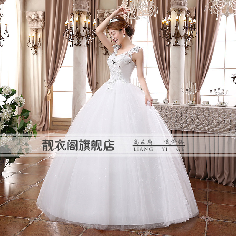Beautiful house 2014 new wedding dress wedding Korean word shoulder waist  size wedding Qi D39 in pregnant women-in Wedding Dresses from Weddings    Events on ... f6f6b89cc6ab
