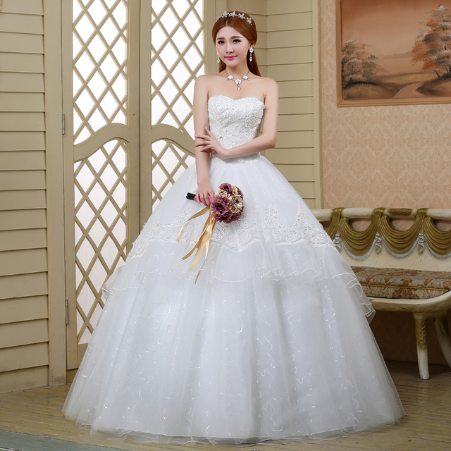 Custom Made 2017 New Design Ball Gown Strapless Tulle Lace Marriage Vintage Wedding Dresses Vestidos De Novia Free Shipping In Wedding Dresses From