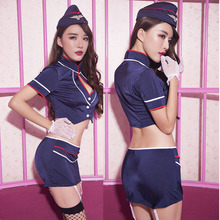 Afuman sexy lingerie hot erotic Tight skirt stewardess uniforms temptation suit babydoll underwear nightclub stage costumes sets