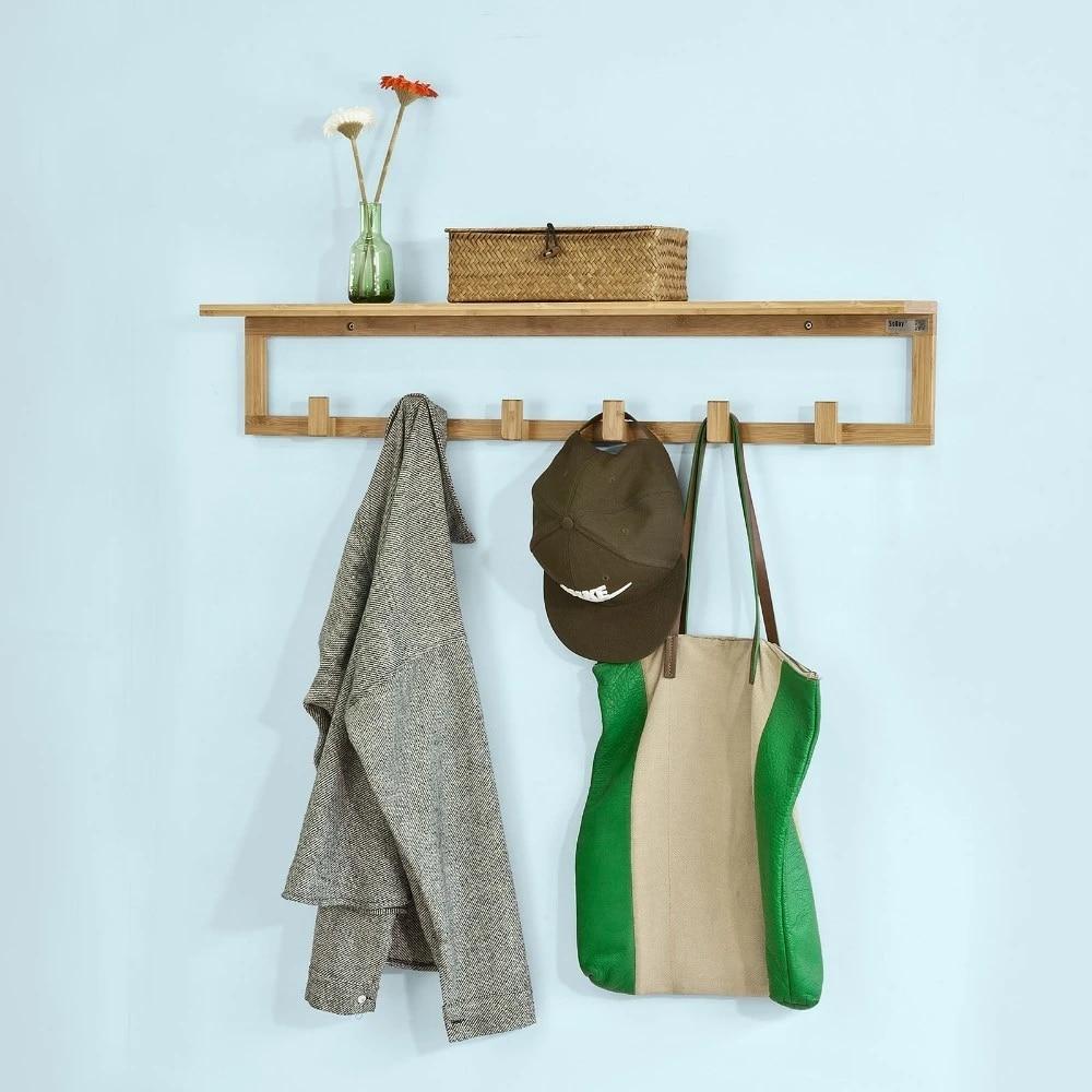 sobuy fhk06 n bamboo wall mounted coat rack bathroom wall towel rack shelf with 6 hooks