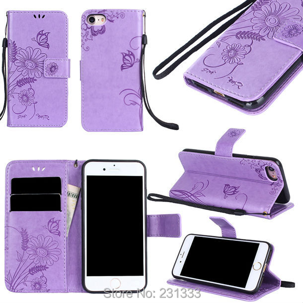 For Iphone 8 7 Plus 6 6S SE 5 5S Huawei P9 P10 P8 LITE 2017 Strap Flower Ant Wallet Leather Pouch Case Stand ID Card Skin 50PCS