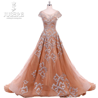 Scoop Neckline Embroidery Silver Pattern Beading Cap Sleeves Lace up Back Long Train Champagne A line Gown Evening Dress 2018