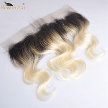 Ross Pretty Remy Brazilian Hair Body Wave Lace Front 1b Blonde Color Middle and Free Part Frontal 13x4 Ombre Human 1b/613