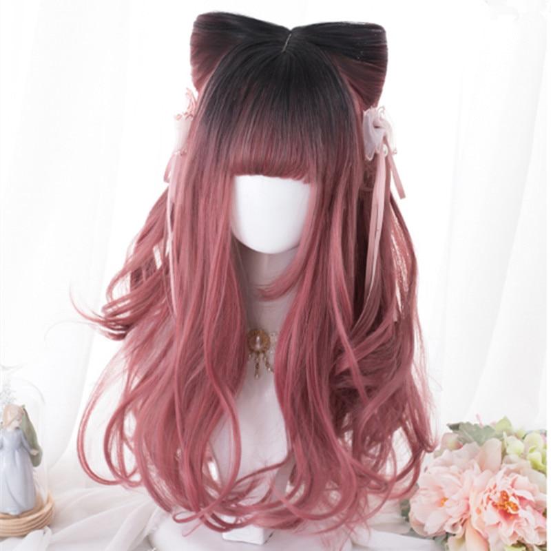 Lolita Black Mixed Pink Ombre Natural Wavy Wig 1