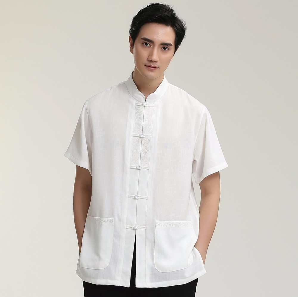 High Fashion Kung Fu Solid Beige Singe Breasted Man Short Sleeve Dress Shirts Cotton Linen Top Clothing M L XL XXL XXXL 2710