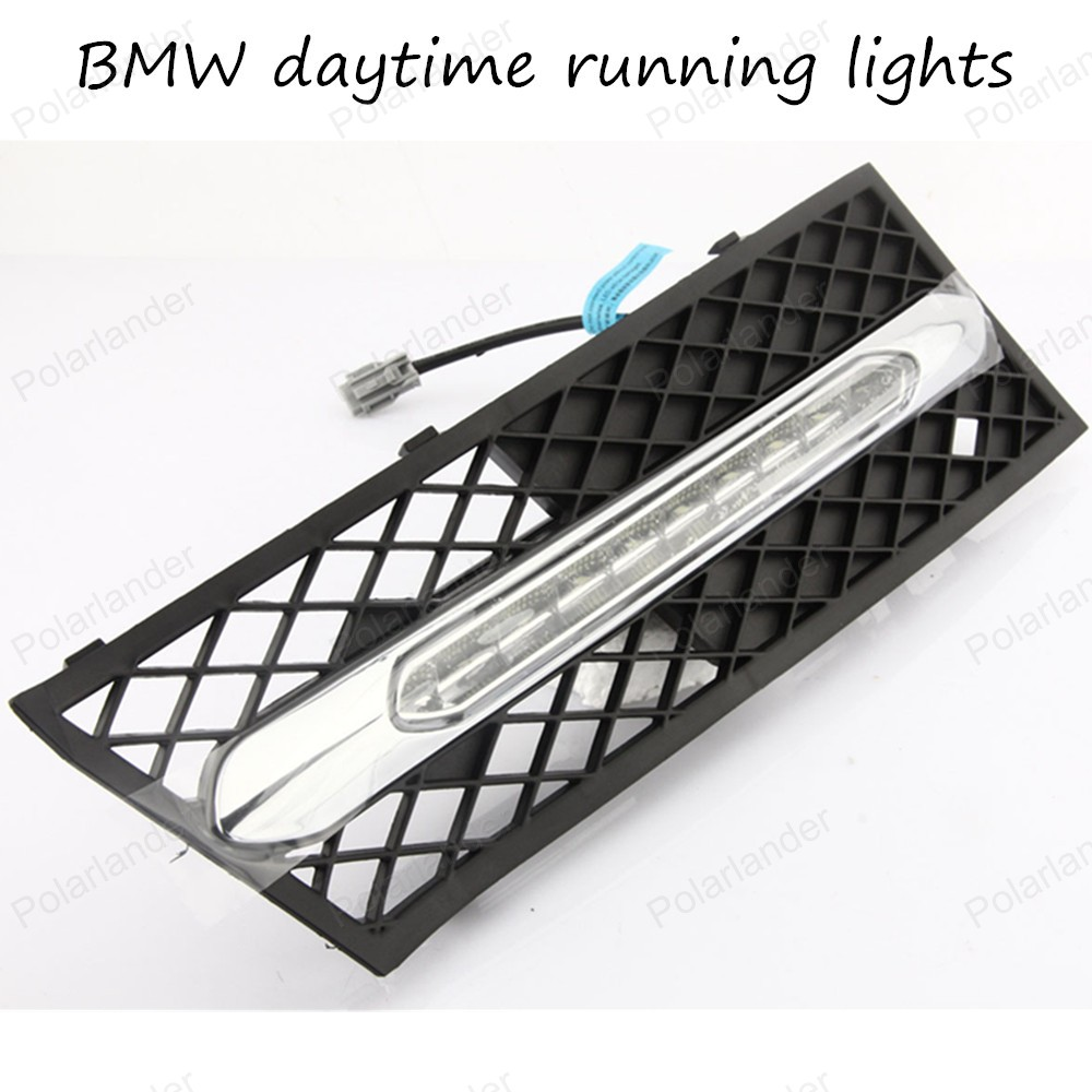 ФОТО 2PCS Car Auto Waterproof LED DRL Daytime Running Light front bumper grille grill Cover For BMW 5 Series 11-12