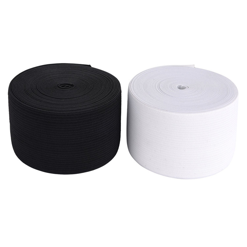 5 Meters White and Black Woven Flat Knitted Elastic 25mm Craft Sewing Elastic Cord Elastic Band Sewing Stretch Rope Black