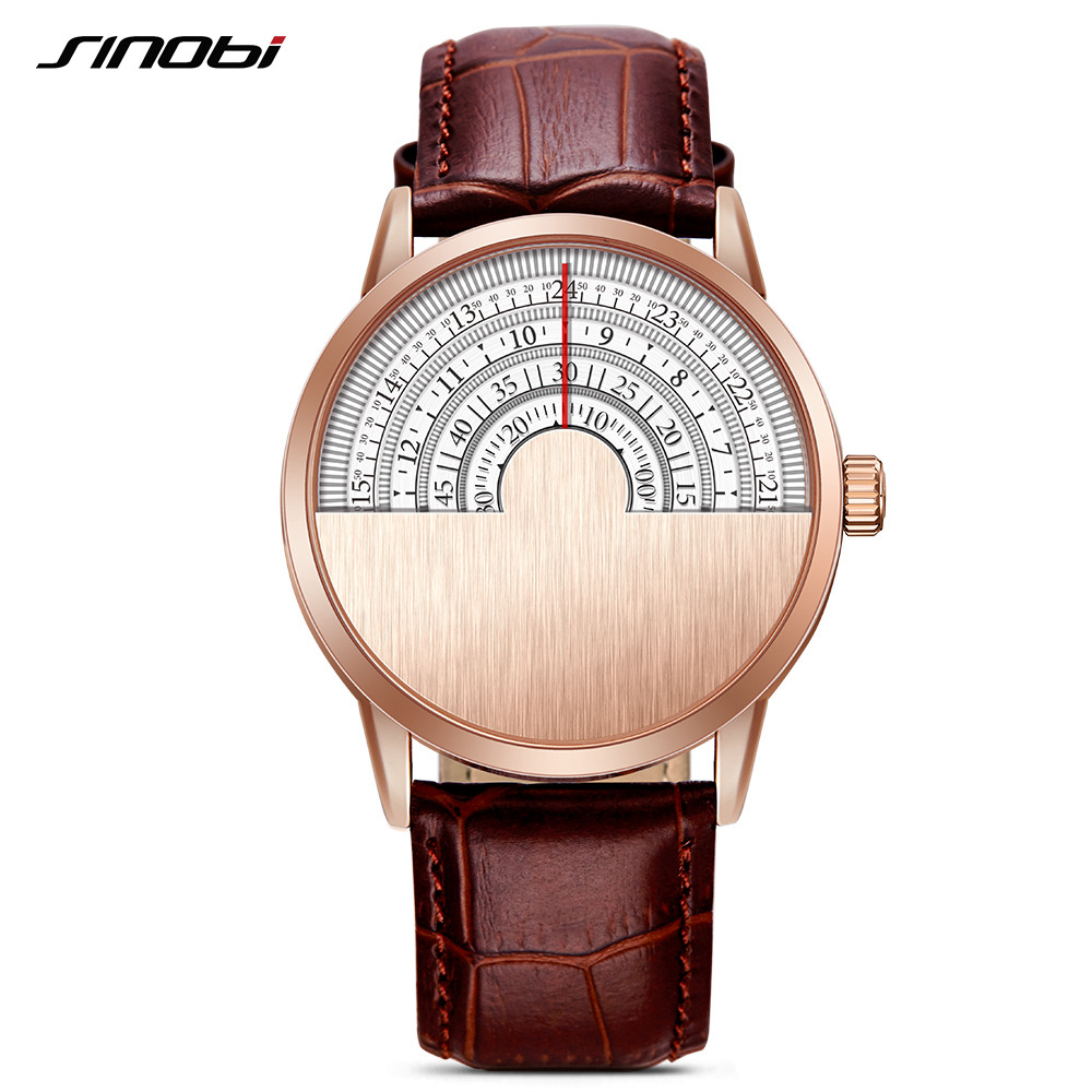 Sinobi Relogio Masculino Men Fashion Business Watches Rotate Dials Top Brand Luxury Creative Quartz -Watch Men Leather Watches