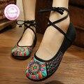 Cultura Dongba Bordado Zapatos de Las Mujeres del Estilo Chino Viejo de Pekín Mary Janes High Top Zapatos Planos Ocasionales Más El 41 del Paño de la Danza