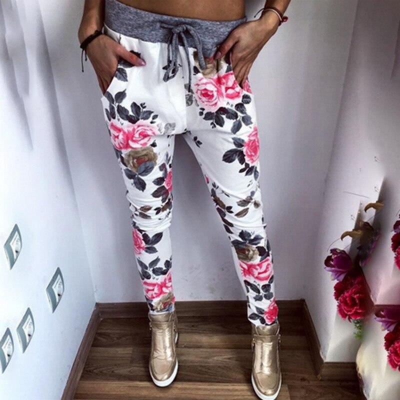 edd21d1b5b3 New Style Fashion Women Casual Pants Flower Printed Womens Harem Pant 2018  Summer Capris Trousers