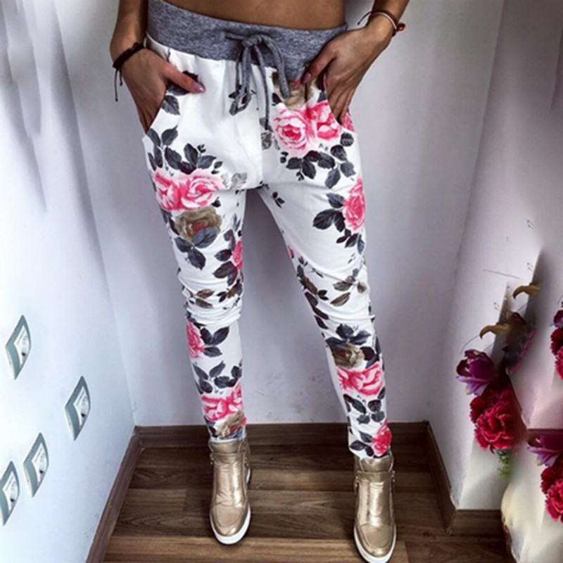 New Style Fashion Women Casual   Pants   Flower Printed Womens Harem   Pant   2018 Summer   Capris   Trousers