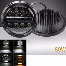 For Jeep Wrangler JK LJ CJ 7inch 80W LED Headlight Angle Eyes with Amber Signal Halo DRL Halo for Harley Motorcycles Daymaker