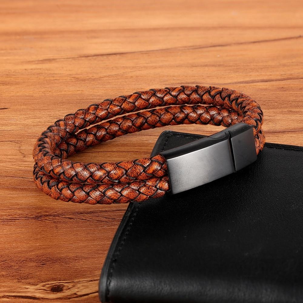XQNI Vintage Leather Bracelet Double Layer Mix Color Combination Genuine Leather Bracelet & Bangle For Men Fashion Jewelry Gift