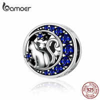 925 Sterling Silver Cat Pet Animal Charm Beads Fit Bracelets Original Naughty Clear CZ Bead DIY Jewelry Making SCC1204
