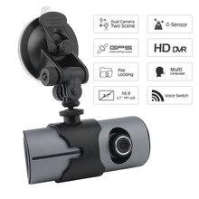 НОВЫЙ 2.7 дюймов Двойной объектив автомобиля ЖК-дисплей видеорегистратор Регистраторы G-Сенсор GPS локатор HD Камера угол обзора 140 градусов регистраторы видеокамера