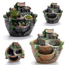 1Pc 17*16*17cm Resin Silver/Orange Flower Pot Planter Ornament Holder Plant Creative Fashion Beautiful Mini Ornaments Decoration