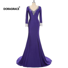 Doragrace Gorgeous V Neck 3/4 Sleeve Illusion Back Beaded Evening Dresses Mermaid Gowns
