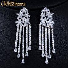Wedding-Earrings Jewelry Cwwzircons Silver Flower Tassel Drop Long Women Pave for Party-Dress